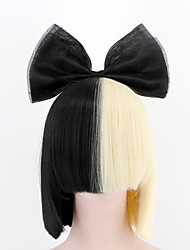 cheap -Women Synthetic Wigs New Fashion Upgrade SIA Style Wig With Super Light Hair Bow Breathable Wig Short Straight Black Blonde color
