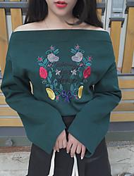 segno retrò fiore parola ricamo Xiangjian ispessita t-shirt