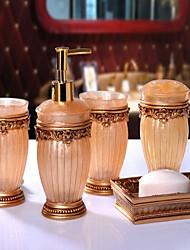 baratos -Jogo de Acessórios para Banheiro Moderna Resina 5pçs - Banho do hotel