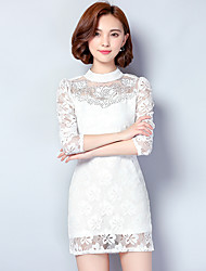 Lace dress and long sections 2017 Spring Korean version of cultivating large size long-sleeved shirt package hip skirt
