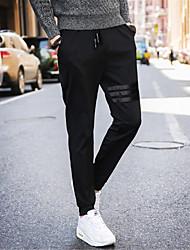 abordables -Hombre Casual Activo Chic de Calle Tiro Medio Microelástico Corte Recto Activo Delgado Chinos Pantalones de Deporte Pantalones,Un Color