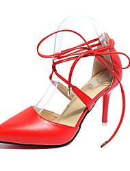 Da donna-Tacchi-Matrimonio Formale Serata e festa-Club Shoes-A stiletto-PU (Poliuretano)-Nero Beige Rosso