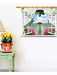 Seaview Screen Window Scenery Sitting Room Bedroom Home Decoration Wall Stickers