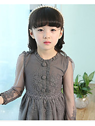 cheap -Girl's Daily Solid Dress,Cotton Spring Fall Long Sleeve Lace White Red Gray