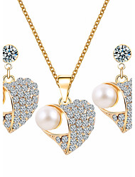 cheap -Women's Jewelry Set Rhinestone Basic Wedding Party Special Occasion Daily Casual Imitation Pearl Rhinestone Alloy Heart 1 Necklace 1 Pair