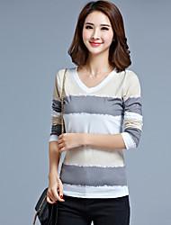 Sign Spring and Autumn Korean yards ladies fashion Slim thin long-sleeved V-neck T-shirt printing bottoming shirt female