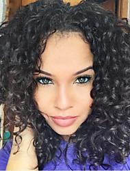 baratos -Cabelo Humano Frente de Malha Peruca Kinky Curly Peruca 130% Densidade do Cabelo Riscas Naturais Peruca Afro Americanas 100% Feita a Mão Mulheres Curto Médio Longo Perucas de Cabelo Natural