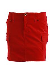 preiswerte -Damen Ausgehen Mini Röcke A-Linie,Baumwolle Solide Ganzjährig