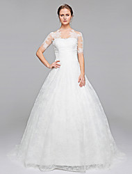 Ball Gown Illusion Neckline Sweep / Brush Train Lace Wedding Dress with Appliques Draped by LAN TING BRIDE®