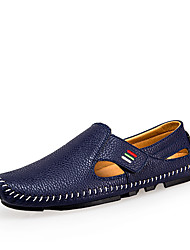 cheap -Men's Shoes Microfibre / Leather Spring / Summer Moccasin / Comfort Loafers & Slip-Ons White / Black / Blue