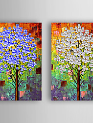 Hand-Painted  Abstract Trees by Knife Set of 2 Canvas Oil Painting With Stretcher For Home Decoration Ready to Hang