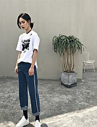 Hong Kong real shot in black and white BF wind hole loose casual T-shirt