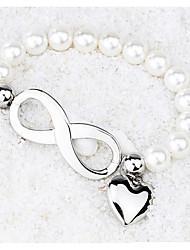 Women's Strand Bracelet Pearl Friendship Movie Jewelry Fashion Luxury Pearl Titanium Steel Geometric Princess Love Jewelry ForWedding