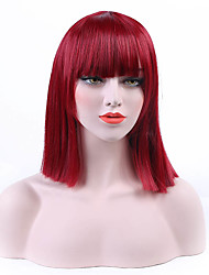 Donna Parrucche sintetiche Senza tappo Pantaloncini Lisci Rosso Caschetto fila in mezzo Taglio medio corto Parrucca naturale costumi