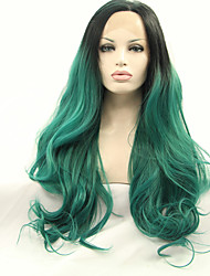 cheap -Sylvia Synthetic Lace front Wig Black Green Ombre Hair Heat Resistant Long Natural Wave Synthetic Wigs