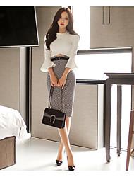 nouveau printemps couture élégant paquet sexy tache de réparation de haut-parleurs robe de la hanche