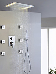 cheap -Contemporary Shower System Rain Shower Handshower Included LED Ceramic Valve Two Handles Nine Holes Chrome, Shower Faucet
