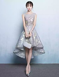 cheap -Ball Gown Illusion Neckline Asymmetrical Metallic Lace Cocktail Party Dress with Appliques by LAN TING Express
