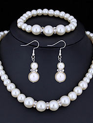 Women's Jewelry Set Crystal Basic Costume Jewelry Imitation Pearl Rhinestone Alloy Round 1 Necklace 1 Pair of Earrings 1 Bracelet For