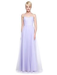 Linha A Decote V Longo Tule Vestido de Madrinha com Fru-Fru Drapeado Lateral de LAN TING BRIDE®
