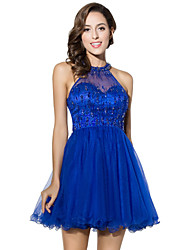 cheap -Ball Gown Fit & Flare Illusion Neckline Short / Mini Tulle Cocktail Party Dress with Beading by Sarahbridal