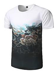 Χαμηλού Κόστους Οι επιλογές του εκδότη-Ανδρικά T-shirt Αθλητικά Ενεργό Φλοράλ Στρογγυλή Λαιμόκοψη / Κοντομάνικο