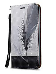 Недорогие -Кейс для Назначение SSamsung Galaxy A5(2017) A3(2017) Бумажник для карт со стендом Флип Магнитный С узором Чехол  Перья Твердый Кожа PU