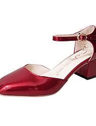 Da donna Mocassini e Slip-Ons Comoda Vernice Primavera Footing Comoda Fibbia Quadrato Heel di blocco Bianco Nero Grigio scuro Rosso2,5 -