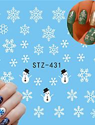 10pcs/style Sweet Style Fashion Christmas Nail Art Snowflake Water Transfer Decals Colorful Snowflake Beautiful Design Nail Beauty Sticker STZ-431-435