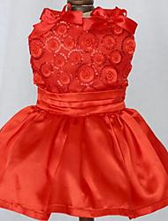 baratos -Cachorro Vestidos Roupas para Cães Princesa Vermelho Azul Khaki Algodão Ocasiões Especiais Para animais de estimação Homens Mulheres Fofo