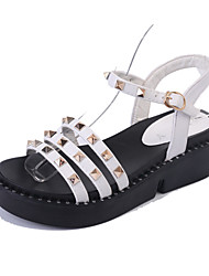 cheap -Women's Sandals Creepers PU Spring Summer Casual Dress Creepers Rivet Buckle Low Heel White Black 2in-2 3/4in
