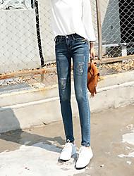 firmare jeans a vita pantaloni piedi femminili, pantaloni a matita cantieri coreani nove punti pantaloni slim era studenti sottili
