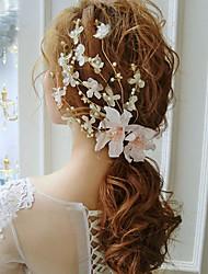 baratos -Tecido Liga Headbands Flores Pele de cabelo Ferramenta de cabelo Grinaldas Presilha de cabelo 1 Casamento Ocasião Especial Casual Ao ar