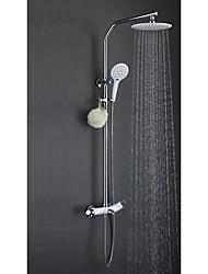 cheap -Contemporary Art Deco/Retro Modern Shower System Rain Shower Widespread Ceramic Valve Single Handle One Hole Chrome , Shower Faucet