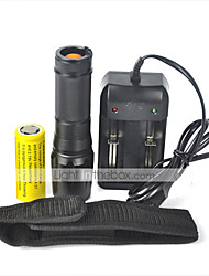 cheap -5 LED Flashlights / Torch LED 2000 lm 5 with Battery and Charger Zoomable Black Camping / Hiking / Caving / Waterproof
