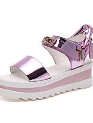 Dámské Sandály Pohodlné PU Jaro Léto Ležérní Šaty Pohodlné Háčky a očka Nízký podpatek Stříbrná Růžová 5 - 7 cm