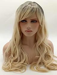 abordables -Mujer Pelucas sintéticas Sin Tapa Largo Ondulado Rubio Peluca natural Las pelucas del traje