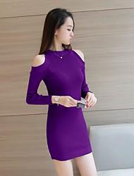 signe automne robe épaule coréenne de fuite sexy hanche paquet mince robe à manches longues jupe fendue talonnage tricot