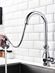 Contemporary Art Deco/Retro Modern Pull-out/­Pull-down Standard Spout Tall/­High Arc Centerset Rain Shower Pullout Spray Thermostatic