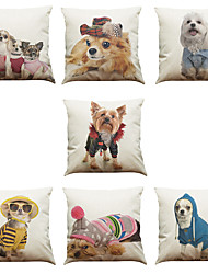 cheap -Set of 7 Cartoon Dog Pattern Linen  Cushion Cover Home Office Sofa Square  Pillow Case Decorative Cushion Covers Pillowcases