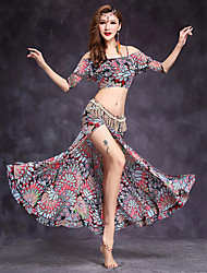 cheap -Belly Dance Outfits Women's Performance Spandex Pattern/Print 2 Pieces Half Sleeve Natural Top Skirt