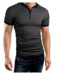 cheap -Men's Daily Sports Casual T-shirt,Solid Round Neck Short Sleeves Cotton