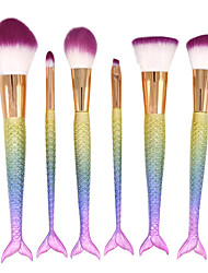 cheap -YZIMENG® 6pcs Mixed  Mermaid Tail Makeup Brush Set Blush/Eyeshadow/Lip/Eyebrow/Concealer/Powder Synthetic Hair Travel Make Up for Face
