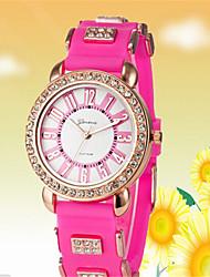 abordables -Mujer Cuarzo Simulado Diamante Reloj Reloj de Moda Gran venta Rosa Oro Plateado Silicona Banda Casual Blanco Rojo Rosa