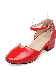 Da donna-Sandali-Ufficio e lavoro Formale Casual-Comoda Scarpe Flower Girl Tacchi Piccoli per adolescenti-Quadrato Heel di blocco-Vernice-