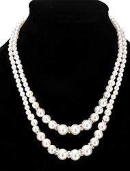 economico -Per donna Altro Personalizzato Perle finte Di tendenza Doppia Pearl Collane Layered Perle finte Strass Perle finte Strass Lega Collane