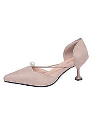 Femme Sandales club de Chaussures Polyuréthane Printemps Eté Décontracté Habillé club de Chaussures Billes Talon Aiguille Noir Beige5 à 7