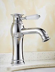 cheap -Contemporary Art Deco/Retro Modern Centerset Waterfall Ceramic Valve One Hole Single Handle One Hole Chrome, Bathroom Sink Faucet