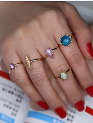 Women's Ring Fashion Synthetic Gemstones Alloy Geometric Jewelry For Daily Casual