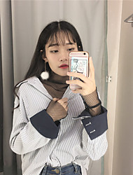 Sign in spring 2017 Korean Fan net yarn blouse inside the ride bottoming shirt openwork mesh sleeved T-shirt shirt female